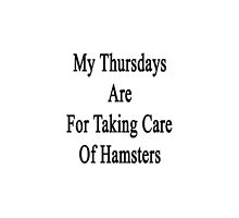 My Thursdays Are For Taking Care Of Hamsters  by supernova23