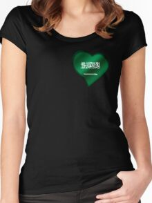 Saudi Arabian Flag - Saudi Arabia - Heart Women's Fitted Scoop T-Shirt