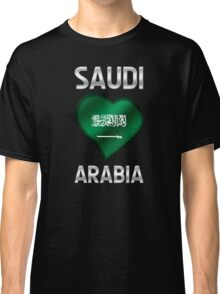 Saudi Arabia - Saudi Arabian Flag Heart & Text - Metallic Classic T-Shirt