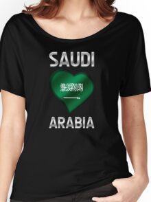 Saudi Arabia - Saudi Arabian Flag Heart & Text - Metallic Women's Relaxed Fit T-Shirt