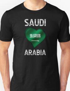 Saudi Arabia - Saudi Arabian Flag Heart & Text - Metallic Unisex T-Shirt