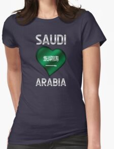 Saudi Arabia - Saudi Arabian Flag Heart & Text - Metallic Womens Fitted T-Shirt