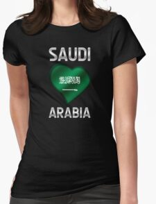 Saudi Arabia - Saudi Arabian Flag Heart & Text - Metallic T-Shirt