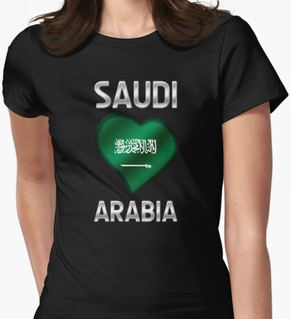 Saudi Arabia - Saudi Arabian Flag Heart & Text - Metallic Womens Fitted T-Shirt
