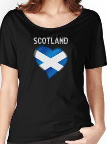 Scotland - Scottish Flag Heart & Text - Metallic Women's Relaxed Fit T-Shirt