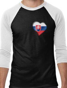 Slovakian Flag - Slovakia - Heart Men's Baseball ¾ T-Shirt