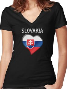 Slovakia - Slovakian Flag Heart & Text - Metallic Women's Fitted V-Neck T-Shirt