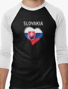 Slovakia - Slovakian Flag Heart & Text - Metallic Men's Baseball ¾ T-Shirt