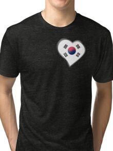 South Korean Flag - South Korea - Heart Tri-blend T-Shirt
