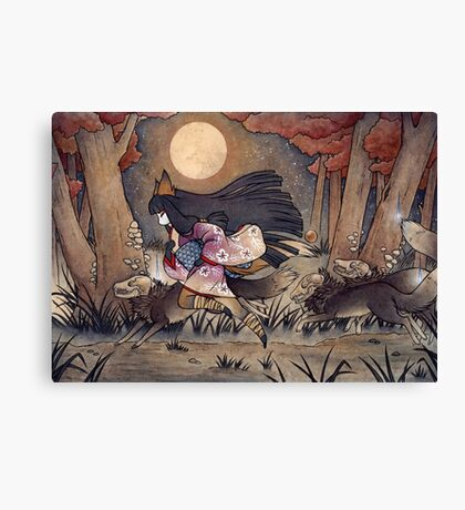 Running With Monsters - Kitsune Fox Yokai  Canvas Print