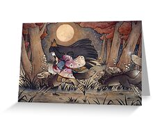 Running With Monsters - Kitsune Fox Yokai  Greeting Card