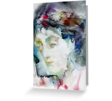 VIRGINIA WOOLF - watercolor portrait.3 Greeting Card