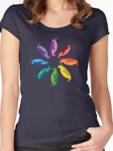 Color: Emperor Penguin Rainbow Pinwheel Women's Fitted Scoop T-Shirt