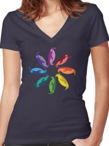 Color: Emperor Penguin Rainbow Pinwheel Women's Fitted V-Neck T-Shirt
