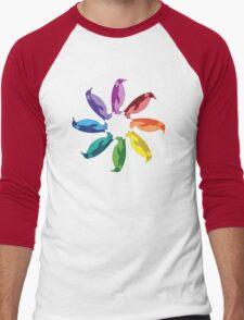 Color: Emperor Penguin Rainbow Pinwheel Men's Baseball ¾ T-Shirt