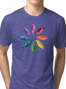 Color: Emperor Penguin Rainbow Pinwheel Tri-blend T-Shirt