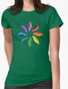 Color: Emperor Penguin Rainbow Pinwheel Womens Fitted T-Shirt