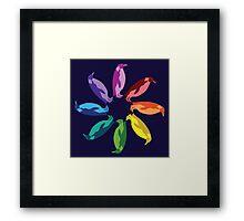 Color: Emperor Penguin Rainbow Pinwheel Framed Print