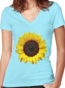 OneSunflower Women's Fitted V-Neck T-Shirt