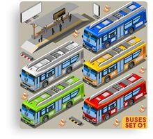 City Bus Set Canvas Print