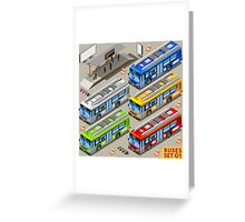 City Bus Set Greeting Card