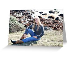 Lacey Caudill in Polo Ralph Lauren and Boots Greeting Card