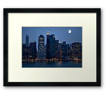 Moon Over NYC Skyline ~ New York City ~ USA Framed Print
