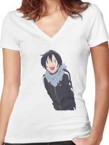 Noragami Yato Side-Strafing Women's Fitted V-Neck T-Shirt