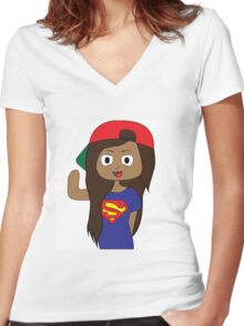 iiSuperwomanii Women's Fitted V-Neck T-Shirt