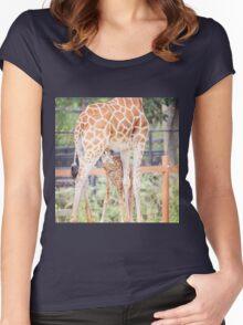Mama Giraffe and nursing calf Women's Fitted Scoop T-Shirt