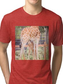 Mama Giraffe and nursing calf Tri-blend T-Shirt