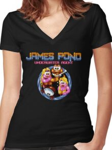 James Pond Women's Fitted V-Neck T-Shirt
