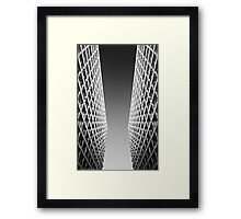Joint Vision of Two Buildings In Black and White Framed Print