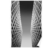 Joint Vision of Two Buildings In Black and White Poster