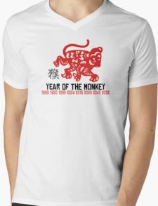 Chinese Zodiac Monkey Year of The Monkey Until 2052 Mens V-Neck T-Shirt