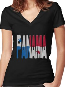 Panamanian flag Women's Fitted V-Neck T-Shirt
