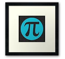 First 10,000 digits of Pi, blue on black. Framed Print