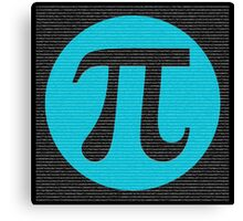 First 10,000 digits of Pi, blue on black. Canvas Print