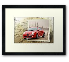 Map with car Framed Print
