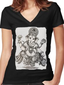 Ganesha Women's Fitted V-Neck T-Shirt