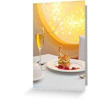 Dessert in restaurant Greeting Card