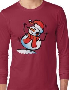 Snowman Toppling Over Long Sleeve T-Shirt