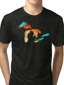 Michigan - Great Lakes in Fractal Colors Tri-blend T-Shirt