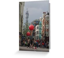 BT Tower From China Town, London Greeting Card