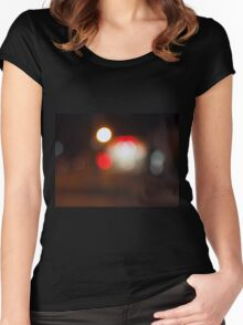 Abstract blurred image of circular lights on the night road Women's Fitted Scoop T-Shirt