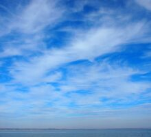 Panorama of the sky over the lake of white cirrus clouds by vladromensky