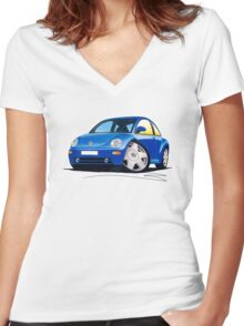 VW New Beetle Blue Women's Fitted V-Neck T-Shirt