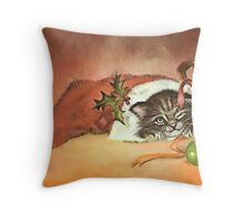 Christmas Kitty Throw Pillow