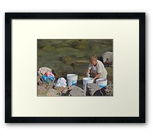 Laundry day - Dia de lavado Framed Print