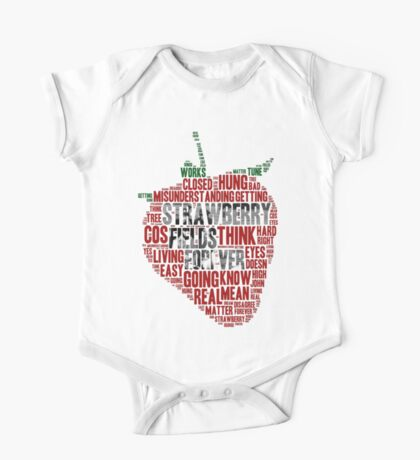 The Beatles - Strawberry Fields Forever Wordcloud One Piece - Short Sleeve